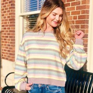Z Supply Rainbow Stripe Pullover XS Pastel Spring